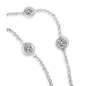 "Jewelry - White gold 14k 18"" inch chain 3 ct diamonds by yar"